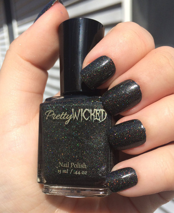 Black Holographic Nail Polish, Dakota Polish