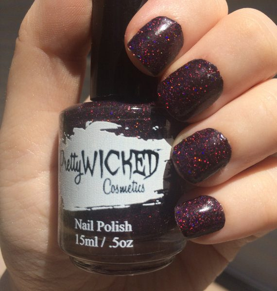 Black/Pink Holographic Nail Polish, Desdemona Polish