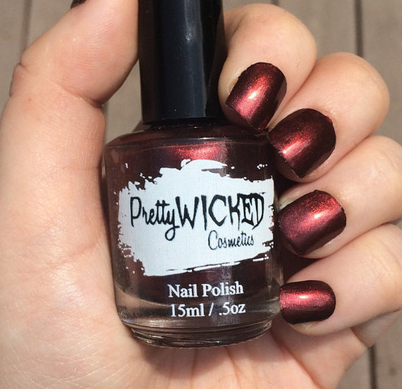 Dark Reddish Black Nail Polish, Carrie Polish