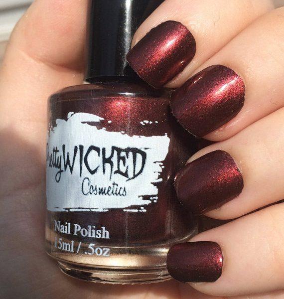 Dark Reddish Black Nail Polish, Carrie Polish
