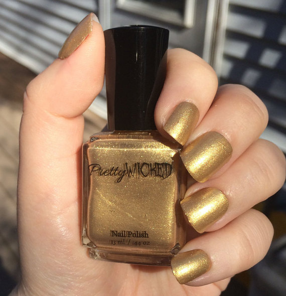 Gold Shimmer Nail Polish, Chrysta Polish