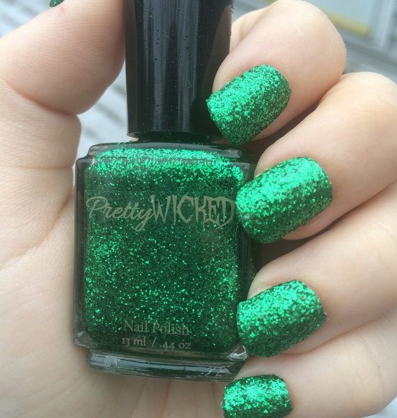 Metallic Green Glitter Nail Polish, Holiday Nails