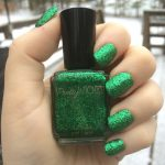 Metallic Green Glitter Nail Polish, Holiday Nails