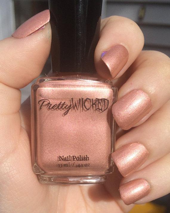 Rose Gold Nail Polish - Millie Polish - Rose Gold - Pink and Gold Nail Polish - Peach Nail Polish - Champagne Nail Polish - Rose Gold Polish