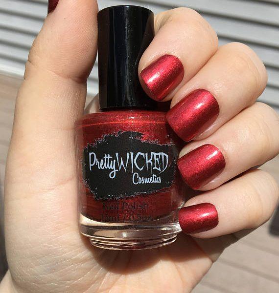 Ruby Red Nail Polish - Lucretia Polish - Bright Red Nail Polish - Metallic Red Nail Polish - Neutral Red Nail Polish - Warm Red Nail Polish