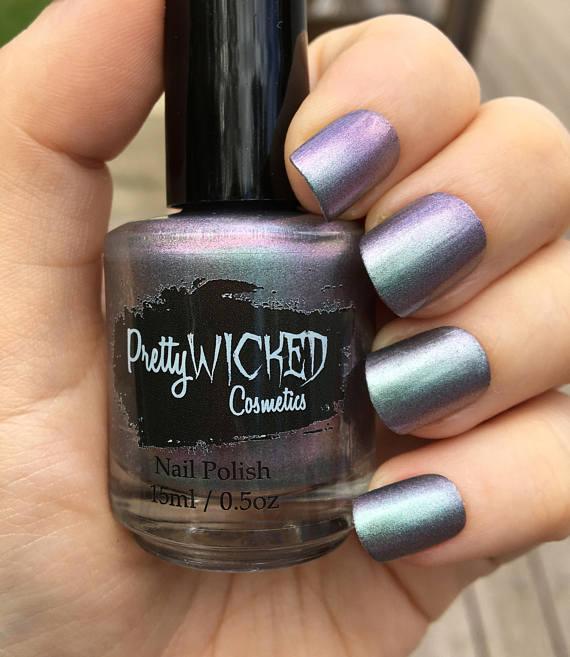 Silver/Green/Purple Iridescent Polish - Luna Polish - Chameleon Polish - Green Nail Polish - Purple Nail Polish - Silver Nail Polish